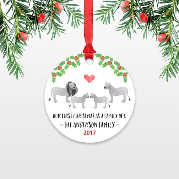 New Baby Christmas Ornaments Christmas Family Ornament New Parents Our First Christmas as a Family of Four 4 Lion Personalized Ornament