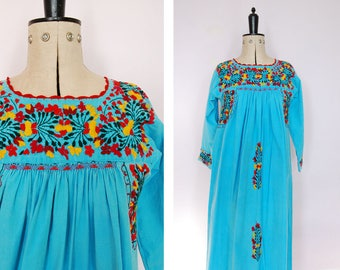 Vintage 1960 70s Oaxacan dress - Mexican embroidered long sleeve dress - Mexican blue dress - bohemian boho hippy hippie dress - folk dress