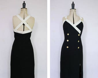 Vintage 1980s 90s black and white gold Medusa coin button dress  - Military dress - 80s Power dress - 80s Evening dress - 80s Cocktail dress