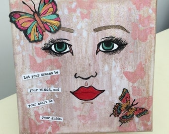 Hand painted mixed media portrait canvas