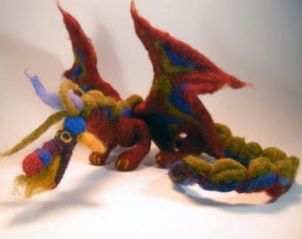 Soft sculpture dragon/amber gold dragon/ interactive dragon/ cute dragon/ fire breathing dragon/needle felted dragon/wool sculpture dragon