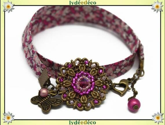 Retro print liberty pink green flower beads white Japanese Glass Butterfly brass bronze