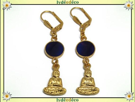 Earrings Buddha Golden brass gold 24 carat 24 k Midnight Blue resin
