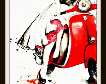 Vespa Girl Watercolor, Romantic Retro Travel Painting by Lana Moes, Contemporary Home Decor, Wanderlust, Christmas Decor, Wanderlust Gift