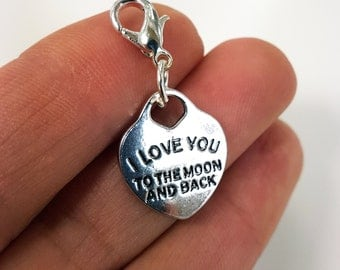 I love you to the Moon and Back - Heart Charm - I love you pendant Charm - Keychain I love you Charm - SCC938