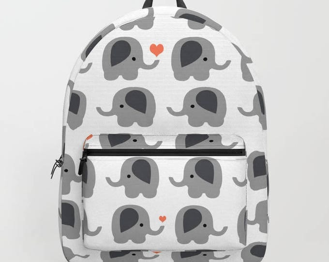 Elephant Backpack with Orange Hearts - Book Bag - School Book Bag - Student Bag - Made to Order
