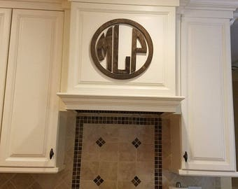 "18"" Wooden Monogram- Circle Monogram with Border"