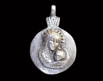 Ethiopian Mary & Jesus Icon Pendant : Ethiopia Jewelry Beads