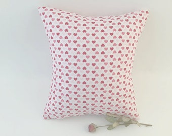 Heart Pillow, Red Heart Pillow, Romantic Decor, Red and White, Handmade Pillow, Bedroom Pillow, Girls Room, Heart Motif, Valentines Day
