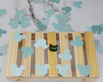 Polka dots and chevrons mouse head confetti, table scatter, gender revel, photo prop,