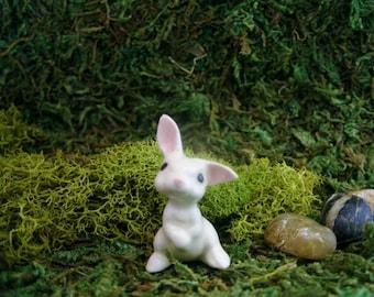 Baby Bunny - Fairy Garden - Terrarium - Bonsai - Succulent - Woodland - Miniature Gardening - Fine Porcelain Figurine