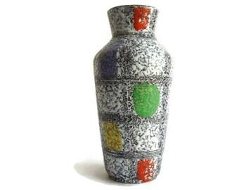 Vintage fat lava ceramic vase Bay Keramik 606 20, West German Pottery