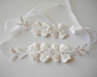 Hand Embellished Flower Bracelet, Lace wrist corsage Hand made beaded Ivory lace bracelet