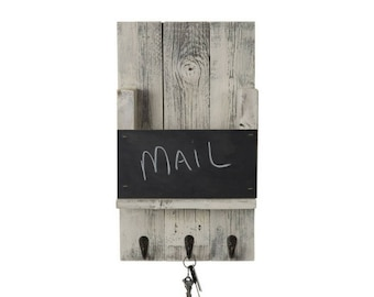 Mail Holder with Chalkboard and Hooks - Whitewash