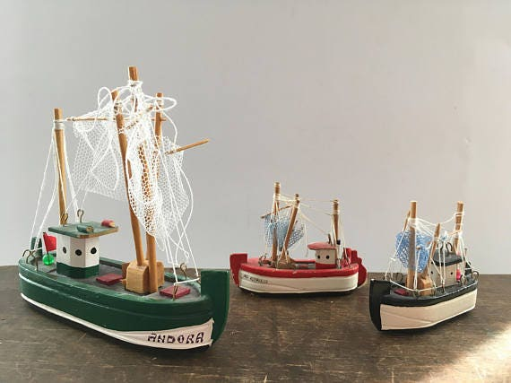 Vintage ship model set tiny ship set nautical home decor for Ship decor home
