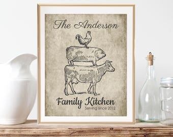 Personalized Kitchen Gifts, Farmhouse Decor, Rustic Country Kitchen Decor, Farm Kitchen Art, Newlywed Gift, Last Name Art, Rooster Cow Pig