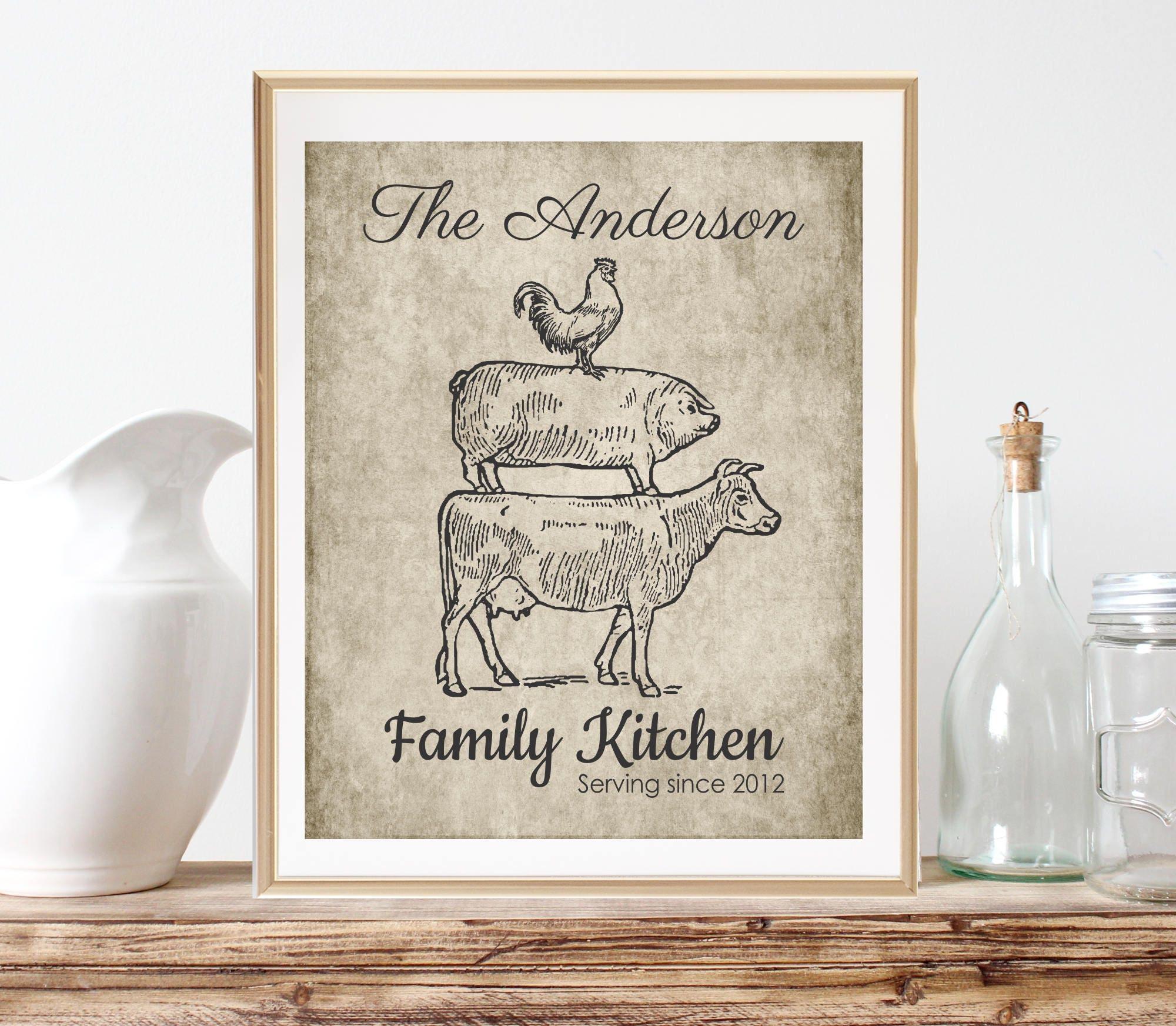 Gepersonaliseerde keuken geschenken decor van de boerderij - Gepersonaliseerde keuken ...