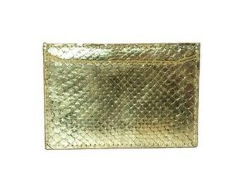 Gold Metallic Python Snake Cardholder