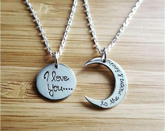 "Pair 2 set necklaces ""I love you to the moon and back"" Sun and Moon in Silver 925/000"
