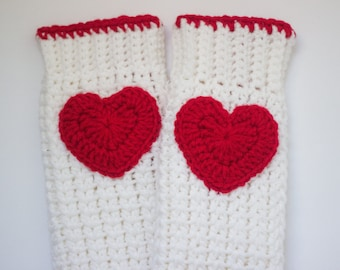 Valentine's Day leg warmers/ Heart leg warmers/ Girls leg warmers/ Crocheted leg warmers/ kids valentine's day gift/