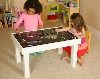 Kids Chalkboard U0026 Craft Table, Flip Top Solid Wood Table
