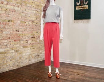 escada wool pants / pleated pant / high waist pants / coral pink / small / colorblock / high rise / pleated trousers / wool trousers / pink