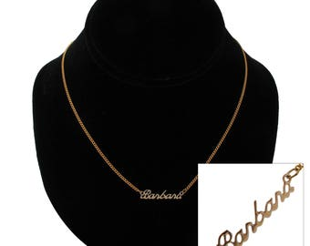 "Script Name Barbara Charm Pendant Gold Tone Necklace 16"" Vintage 70s"
