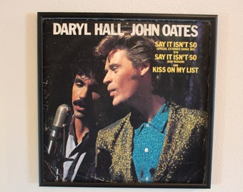 Glittered Record Album - Say It Isn't So and Kiss On My List - Daryl Hall John Oates