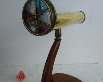 Janice Chesnik Kaleidoscope Signed by the Artist 1995 - Brass Antique Stained Glass on a Wood Base