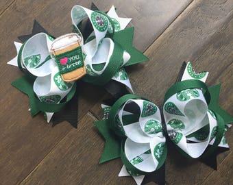 Starbucks Coffee hair bow