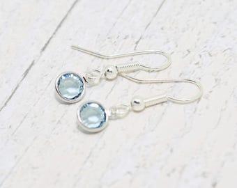 March Birthstone Earrings, Crystal Birthstone, Aquamarine Crystal Earrings, Aquamarine Earrings, March Earrings, March Birthday, Gift