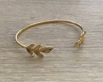Thin Gold Leaf Cuff, Gold Cuff, Thin Cuff, Gold Bracelet