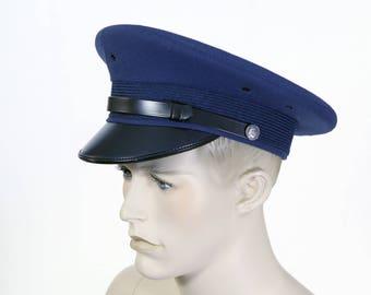Vintage Men's Air Force Officers Hat - Raised Visor Cap - Peaked Uniform Cap - Blue Service Man's Cap - Siza 7 1/8 - Military Uniform