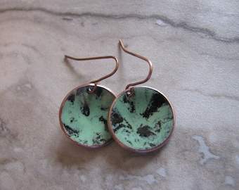 Old Copper Penny Enameled Enamel Pennies Earrings with Sterling Silver, Boho, Minimalist Earrings, Altered Coin, Antique Toniraecreations