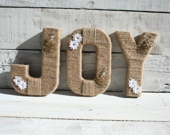 Christmas Decorations | Christmas Decor | Christmas Mantle Decoration | Christmas Wall Decor | Jute Wrapped Christmas Letters