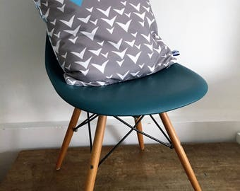 Block print inspired cushion, geometric print, funky colours