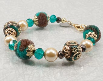 Teal and Brown Jewelry / Brown and Teal Beaded Bracelet / Bluish Green Bracelet