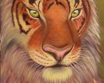 Tiger Painting,Tiger Oil Painting,Animal Painting,Large Wall Art,Canvas,Animal Portrait,Wild Animal Oil Painting Print,Hand Made,Home Decor
