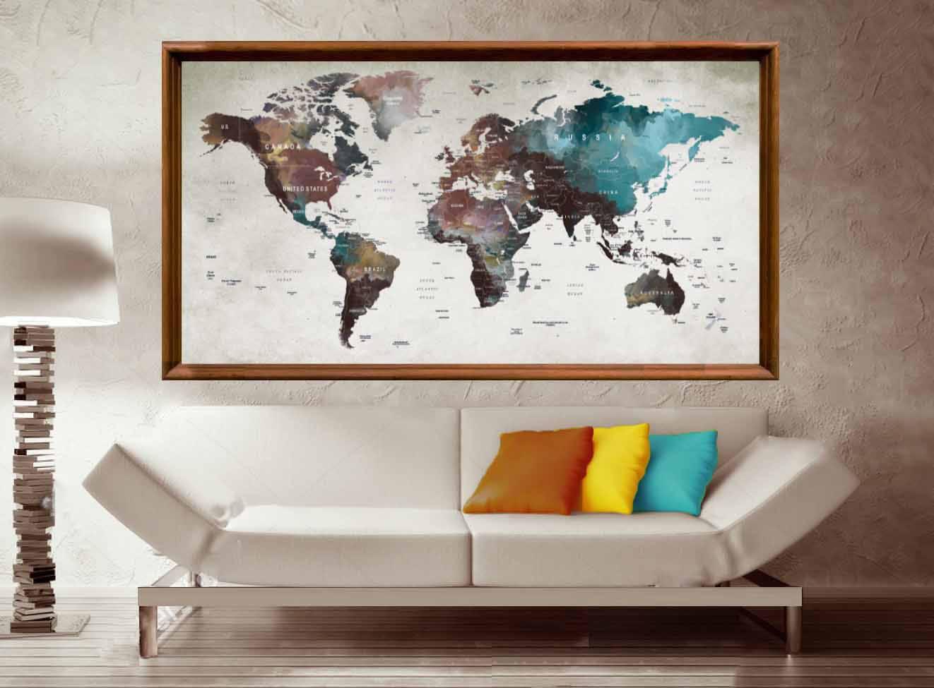Large World Map Wall ArtWorld Map PosterWorld Map DecalWorld - Large world map painting