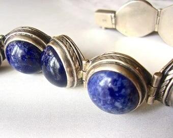 Genuine Lapis Cabochon Sterling Silver Hinged Bracelet, Heavy, Vintage