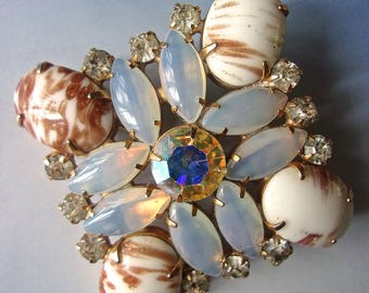 JULIANA Copper Fluss Milk Glass Brooch, Opalescent, AB, Rhinestones, Vintage