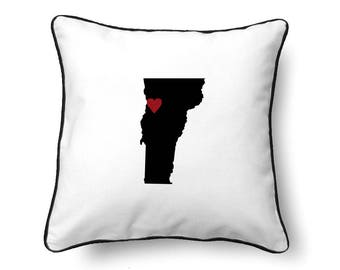 Vermont Pillow - Vermont Gift - Vermont Map - VT State Map