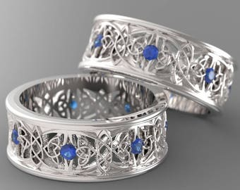 Celtic Wedding Ring Set With Cut-Through Celtic Butterfly Knot Design With Blue Sapphire Stones in Sterling Silver Made in Your Size CR-1040