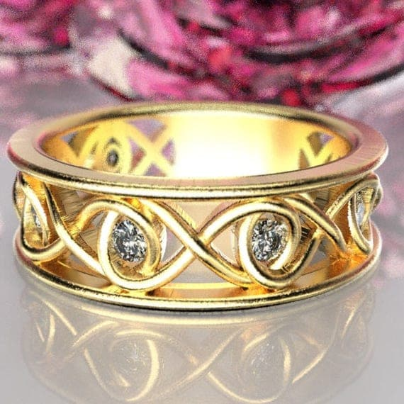Celtic White Sapphire Wedding Ring With Infinity Knot Design in 10K 14K 18K Gold, Palladium or Platinum Made in Your Size CR-511
