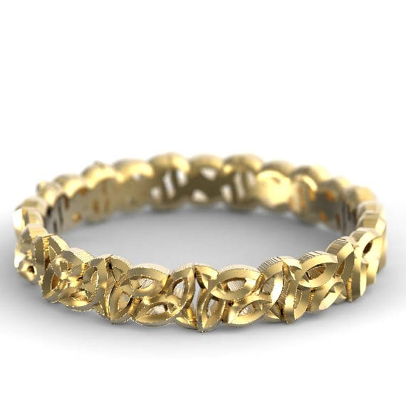Trinity Knot Celtic Wedding Band, Gold Celtic Knot Ring,10K 14K 18K Gold, Platinum Wedding Band, Palladium Ring, Custom Wedding Rings (616)