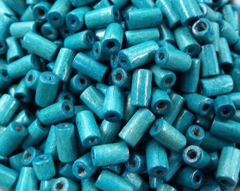 Teal Blue Wood Tube Beads Satin Varnished Plain Simple Round Smooth Ball Wooden Bead Spacers 8mm Choose 50pcs, 200pcs or 400pcs