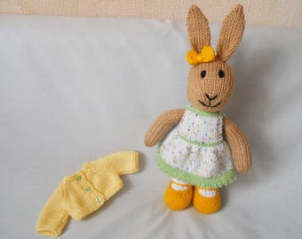 Rabbit, Hand Knitted Rabbit, Handmade Bunny, Willow, the Dressed Bunny, Toy Rabbit, Easter Bunny,  Baby Gift, Child Gift, Easter Gift