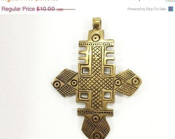 25% OFF Extra Large Brass Ethiopian Cross Pendant  4 Inch approx - TP107C