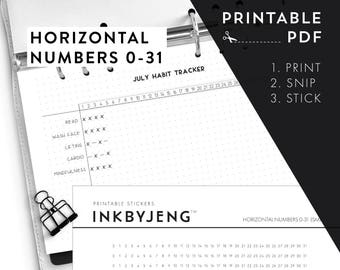 Printable PDF - Horizontal Numbers 0-31 / time habit trackers time ladders   Fits 5mm Grid   Print & Stick   Printable Stickers for Planners