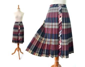 Plaid skirt, pleated skirt, Pendleton skirt, red black skirt, vintage, schoolgirl skirt
